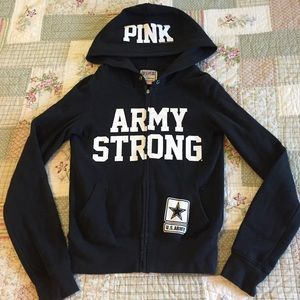 PINK Army Strong Hoodie Jacket XS